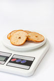 Crispy toasted toast on the kitchen digital scale Stock Photography