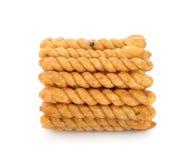 Crispy twirls isolated on white background. Crispy twirls isolated on white Royalty Free Stock Photography