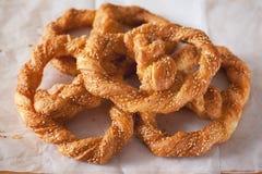 Crispy twist bread with sesame snack for coffee break Royalty Free Stock Image