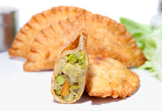 Crispy vegetable Samosa filling with boiled pea, patatos, carrot Stock Images