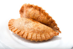 Crispy Vegetable samosa on plate Royalty Free Stock Images