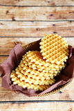 Crispy wafers on a napkin Stock Images