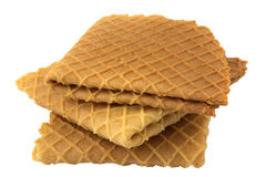 Crispy wafers. On a white background, isolated Royalty Free Stock Images