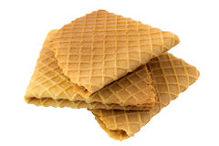 Crispy wafers. On a white background, isolated Royalty Free Stock Photography