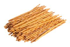 Crispy wheat straw with salt isolated on white Stock Image