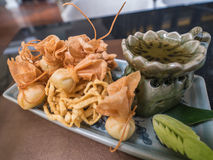 Crispy wonton. With sweet sauce and vegetable royalty free stock image