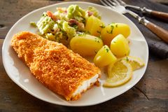 Crispy złoci kruszący codfish polędwicowi zdjęcia stock