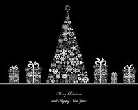 Crisrmass tree with cristmass gift boxes. Vector Royalty Free Stock Images