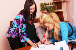 Crisscross. Girls play in the crisscross of working time stock image