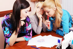 Crisscross. Girls play in the crisscross of working time royalty free stock photo