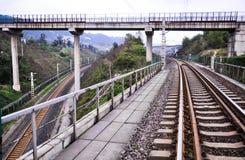 The crisscross Railway tracks. Converging railway rail tracks on a bend. Take on chongqing of china royalty free stock photos