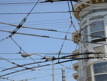 Crisscrossing Power Lines from San Francisco's Trolley Cars Stock Photos