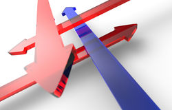 Crisscrossing red and blue arrows Stock Image