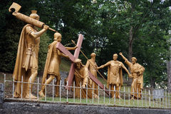 Crist and solgers. LOURDES, FRANCE - CIRCA JULY 2015 Crist and roman solgers sculptures Stock Images