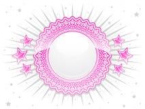 Crista brilhante cor-de-rosa do laço com estrelas Fotografia de Stock