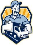 Crista do caminhão de entrega do homem da remoção retro Fotos de Stock