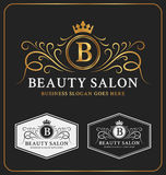 Crista heráldica Logo Template do salão de beleza Foto de Stock Royalty Free
