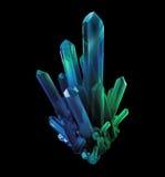 Cristais do verde azul, formas geological, objeto 3d ilustração stock