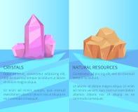 Cristais e minerais realísticos dos recursos naturais ilustração stock