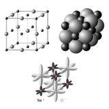 Cristais iônicos a estrutura do NaCl do cloreto de sódio Imagens de Stock