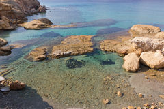 Cristal - águas desobstruídas, praia de Fyriplaka, Milos Imagens de Stock
