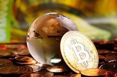 Cristal σφαίρα Bitcoin Στοκ Εικόνες