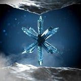 Cristal abstrait bleu sur le fond foncé Photo stock