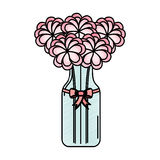 Cristal bottle with flowers isolated icon Stock Photos