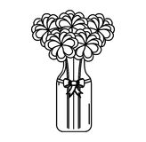 Cristal bottle with flowers isolated icon Royalty Free Stock Image