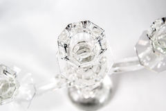 Cristal candlestick. Cristal decorative candlestick on the gray background Stock Image