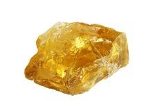 Cristal citrino áspero no branco Fotos de Stock Royalty Free
