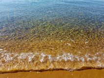 Cristal clear waves and golden sand. In Skiathos, Greece 2018 stock images