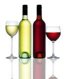 Cristal de botellas rojo del vino blanco Imágenes de archivo libres de regalías