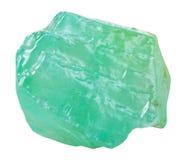 Cristal de la piedra mineral de la calcita verde aislada Foto de archivo libre de regalías