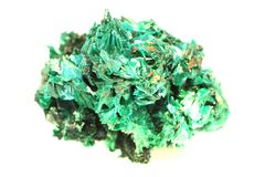 cristal de malachite d'isolement photo stock
