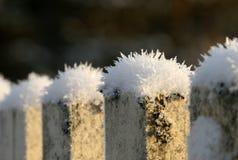 Cristal de neige sur la vieille barrière Image stock