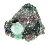 Cristal de pierre gemme de Beryl dans la roche d'isolement Image stock