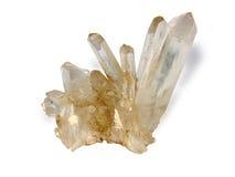 Cristal de roca en el fondo blanco Fotografía de archivo libre de regalías