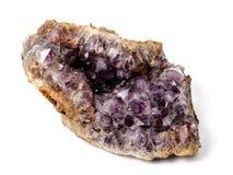 Cristal de roca natural de la amatista Fotos de archivo libres de regalías