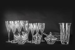 Cristal em um fundo preto Fotografia de Stock