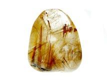 Cristal géologique de quartz de Rutilated Photographie stock