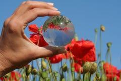 cristal globe ręka Zdjęcia Royalty Free
