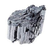 cristal preto áspero da turmalina (Schorl) no branco foto de stock royalty free