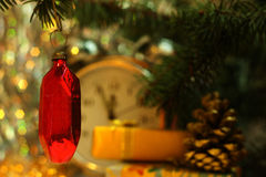 Cristal soviético del rubí del juguete de la Navidad Imagen de archivo libre de regalías
