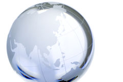 Cristal world. A cristal world globe: continents over transparent glass, isolated on white. North Pole, Asia. More in my portfolio stock photography