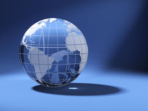 Cristal world globe on blue Stock Photography