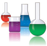 Cristalería de laboratorio Foto de archivo libre de regalías
