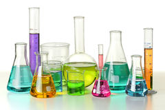 Cristalería de laboratorio Imágenes de archivo libres de regalías