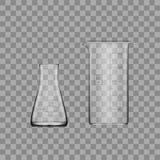 Cristalería de laboratorio de dos sustancias químicas o cubilete Tubo de ensayo claro vacío del equipo de cristal Foto de archivo libre de regalías