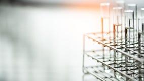 Cristalería de laboratorio que contiene el líquido químico, investigación de la ciencia, fondo de la ciencia fotografía de archivo